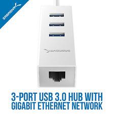 SABRENT 3-Port USB 3.0 HUB with RJ45 10/100/1000 Gigabit Ethernet Port (HB-NTUW)