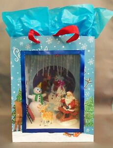 Dollhouse Miniature Santa Claus is Coming to Town Scenario in a Gift Bag
