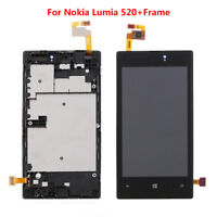 For Nokia Lumia 520 Display LCD Touch Screen Digitizer Assembly with Panel Frame