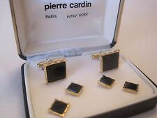 Pierre Cardin Cufflinks & Studs - Scalloped Edge Detail, Gold-Tone & Onyx