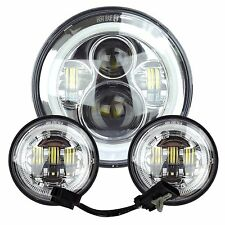 "7"" Chrome LED Halo Projector Daymaker Headlight + Passing Lights For Harley"