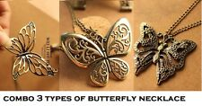 COMBO 3 Types Ancient Vintage Bronze Butterfly Pendant Necklace Chain Jewelry