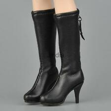 1:6th Black Zippered Mid-calf High Boots Shoes for 12'' CY CG Girl Hot Toys