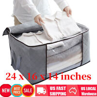 Foldable Large Non-woven Clothes Quilt Blanket Zipper Storage Bag Organizer Box