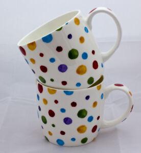 Attractive Pair of Polka Dot China Boston Shape Mugs