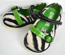 Toddler Girl GYMBOREE Mod Zebra Sz 3 Mary Jane Style Shoes Black White Green