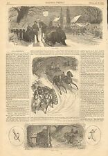 Romance, Winter, Horse Drawn Sleigh, Vintage 1858 Antique Art Print