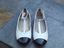 Girls shoes - M&S - size 2 - cream & black patent