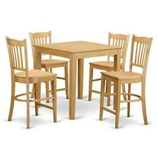 PBGR5-OAK-W 5 Piece pub table set-high top table and 4 counter height stool