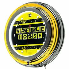 Waffle House Vintage Chrome Double Ring Neon Clock, New