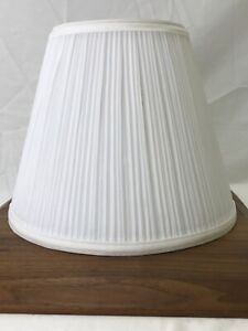 """White Pleated Fabric Lamp Shade 11""""x9x6"""" Traditional Empire Cone Gathered Spider"""