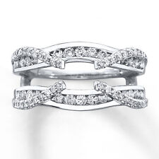 2/3ct Diamond 14k Solid White Gold Solitaire Enhancer Wrap Wedding Band Ring