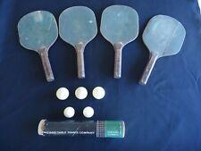Vintage Table Tennis bat paddles & balls Ping Pong Chicago RARE LOOK!