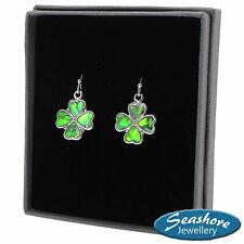Four Leaf Clover Earrings Paua Abalone Shell Lucky Silver Fashion Jewellery
