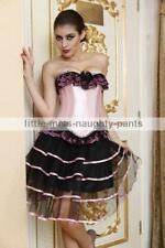 Burlesque Moulin Rouge Pink  Corset Clubwear Fancy Dress Party Costume