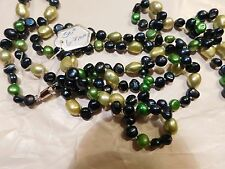 "Necklace Pearl Genuine Freshwater 50"" 5-8mm Navy Blue Yellow Green"
