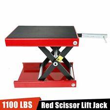 1100Lb Red Scissor Lift Jack Atv Motorcycle Center Hoist Tool Crank Repair Stand