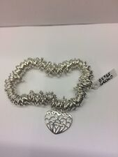 Sterling Silver Sweetie Style Stretchable Bead Bracelet With Heart Charm