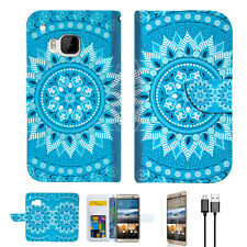 Blue Aztec Tribal Wallet Case Cover for HTC One M9 A001