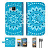 Blue AZTEC TRIBAL Wallet Case Cover For HTC U Play -- A001