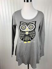 New Green 3 Apparel Tunic Owl Top Shirt Womens Med Gray Organic Cotton Novelty