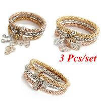 3 Stück Frauen Gold Silber Rose Gold Armbänder Set Strass Geschenke 2@q