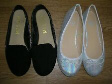 MISO YD Girls Black Silver Flat Ballet Style Shoes Party Pumps UK 4 Eur 37