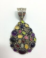 Large Native American Emer Thompson Multi Gemstone Pendant Sterling Navajo