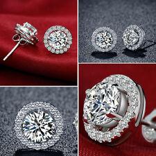 Fashion Lady Crown 925 Sterling Silver Crystal Rhinestone Ear Stud Earrings