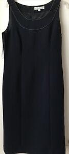 NEXT BLACK WHITE STITCH TRIM SLEEVELESS FULLY LINED DRESS Size 10