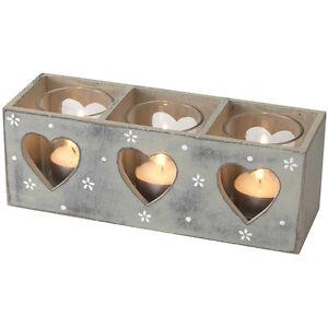 Grey Ditsy Daisy Triple Tealight holder – Candle – Shabby Chic – Tea Light