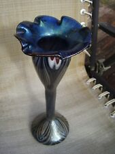 Iridescent Studio Art Glass Tulip Shape Pulled Feather 12 inch Vase