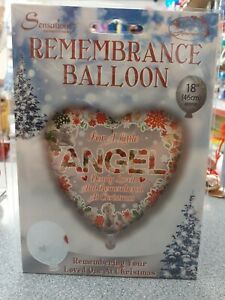 """Christmas Remembrance 18"""" Foil Helium Balloon In Loving Memory. Angel"""