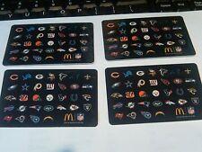 4- McDonalds Football NFL ARCH Cards - All 32 Teams emblems on the card -helmet