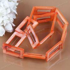 Natural MOP Shell Orange Hollow Rectangle Loose Bead Fit Jewelry Making DIY