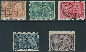 TMM* 1897 Canada Stamp S# 51-54,56 used/lt hinge/med cancel VG/F Jubilee issue