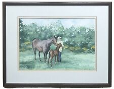 Original Irish Art Watercolour Painting Horse And Foal By Stanley Rainey