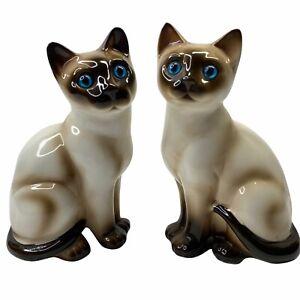 "Set of 2  Enesco Siamese Cat Ceramic Figurines Blue Eyes 7"" Tall Vintage"