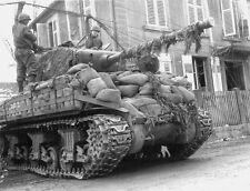 WWII B&W Photo US Army M4 Sherman Tank Rittershofen Germany 1945  WW2 / 3046