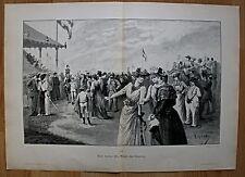 Pferdesport, Pferderennen, Jockey, Rennplatz. Dekorativer Holzschnitt von 1892