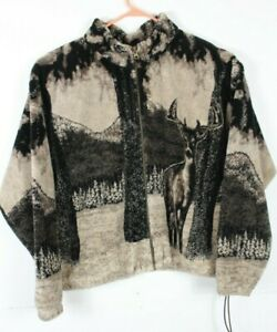 Outback Trading Company LTD Mens XL Whitetail Deer Fleece Jacket Coat Heavy Zip