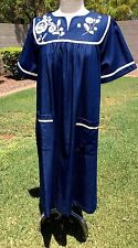 Go Softly Patio Dress Duster Muu Muu Sz S 100% Cotton Denim Beads/Appliques NWT