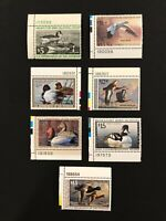 7 Duck Stamps, Nice Mint Never Hinged RW43,RW55-57,60,65-66 with Plate Numbers