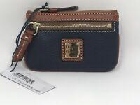 Dooney & Bourke Coin Purse Case Key Wallet Pebble Leather Zip Midnight Blue NWT