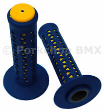 AME old school BMX Unitron bicycle grips - BLUE over YELLOW *MADE IN USA* NEW