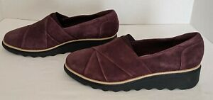Clarks Collection Suede Loafers Sharon Form Burgundy Size 7.5 - NEW