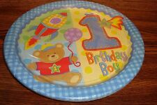 """1st Birthday Boy HUGS & STICHES Birthday Party 10 1/2"""" in. Plates 8 CT pack"""