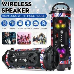 Outdoor bluetooth Speaker Super Bass Wireless Stereo Boombox FM Radio Aux T