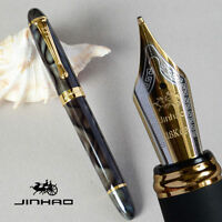 JINHAO X450 MARBLE GREN AND GOLDEN 0.7mm BROAD NIB FOUNTAIN PEN