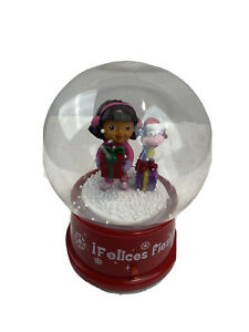 Dora The Explorer And Boots  Musical Plastic Snow  Globe Merry Christmas Gemmy
